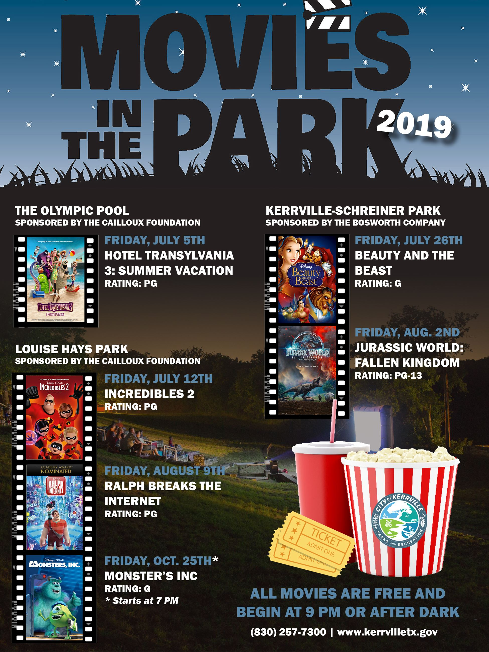 Movies in the Park Flyer - 2019